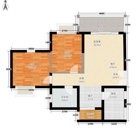 豪盛时代华城2室0厅1卫1厨101.00㎡户型图