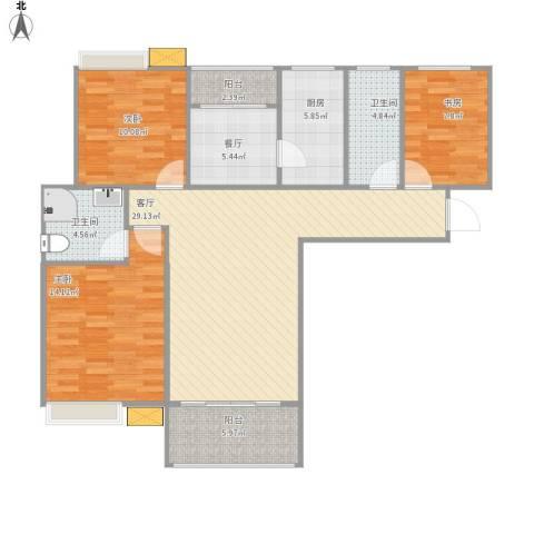 鑫苑世家3室2厅2卫1厨105.00㎡户型图