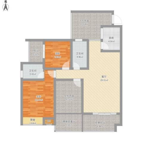 江与城2室1厅2卫1厨147.00㎡户型图