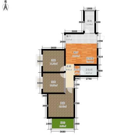 泰华紫落澜庭3室0厅1卫1厨93.76㎡户型图