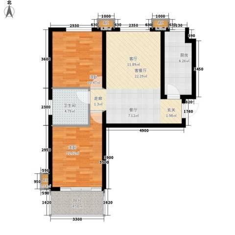 江南鸿郡2室1厅1卫1厨88.00㎡户型图