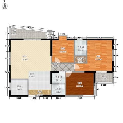 东南春晓3室1厅3卫1厨145.00㎡户型图