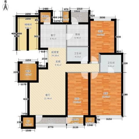 铭爵大厦3室0厅2卫1厨163.00㎡户型图