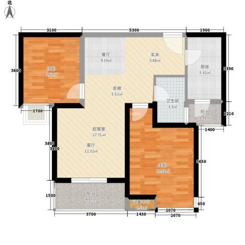 中海东郡2室0厅1卫1厨96.00㎡户型图