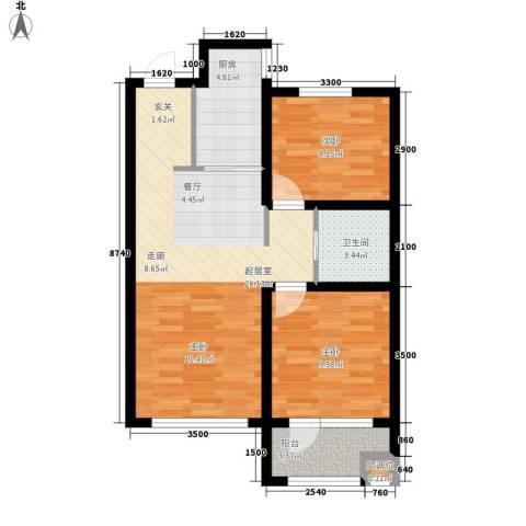 格林喜鹊花园2室0厅1卫1厨73.00㎡户型图