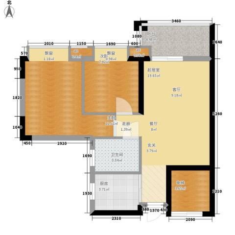 海伦堡御院2室0厅1卫1厨65.00㎡户型图