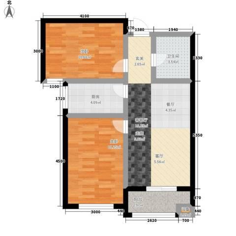 东城景苑2室1厅1卫1厨76.00㎡户型图
