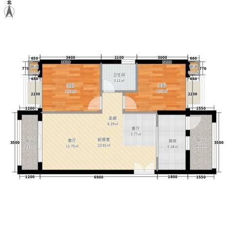 汉城壹号2室0厅1卫1厨84.00㎡户型图