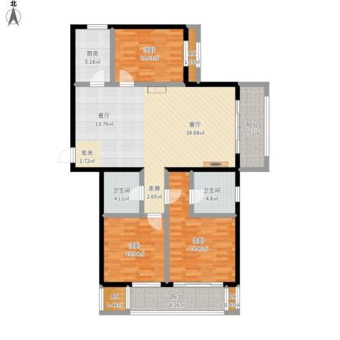 开元花半里3室1厅2卫1厨151.00㎡户型图