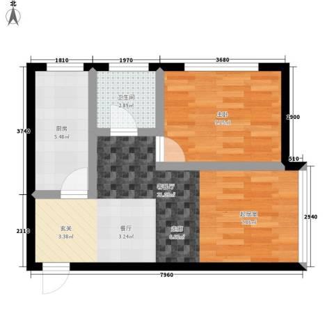 东城景苑1室1厅1卫1厨56.00㎡户型图