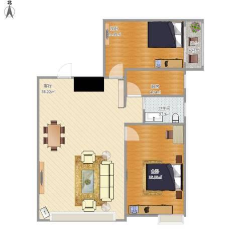 戴河海公园2室1厅1卫1厨102.00㎡户型图