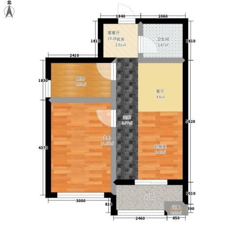 东城景苑1室1厅1卫1厨61.00㎡户型图