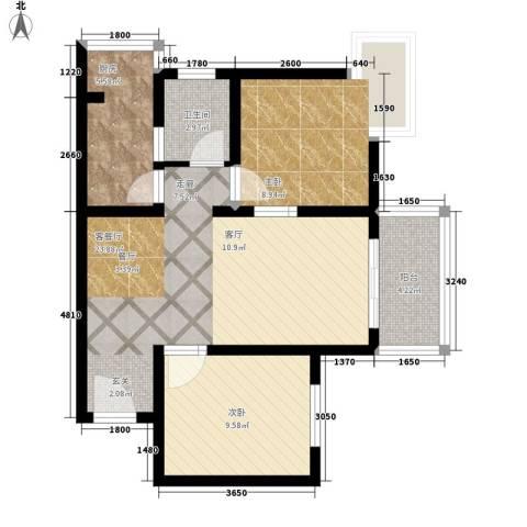 南湖一号2室1厅1卫1厨81.00㎡户型图