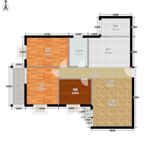 旺园大厦3室1厅1卫1厨122.00㎡户型图