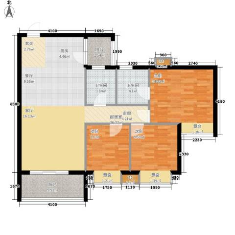 海伦堡御院3室0厅2卫0厨96.00㎡户型图