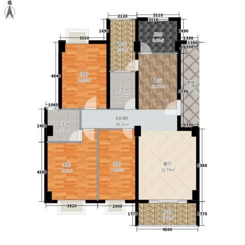 金色华庭3室0厅2卫1厨135.00㎡户型图