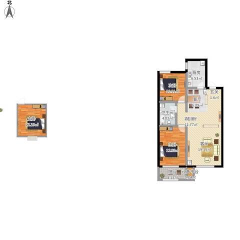 蓝钻庄园3室1厅1卫1厨130.00㎡户型图