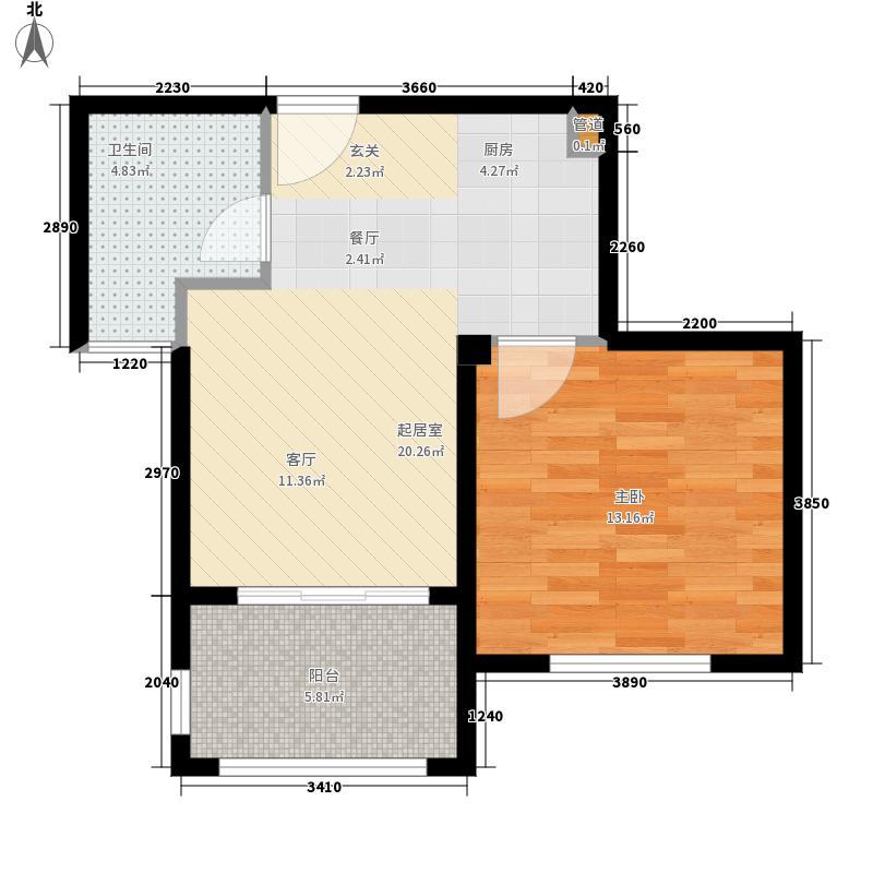 海南温泉1号58.48㎡二期C型公寓户型