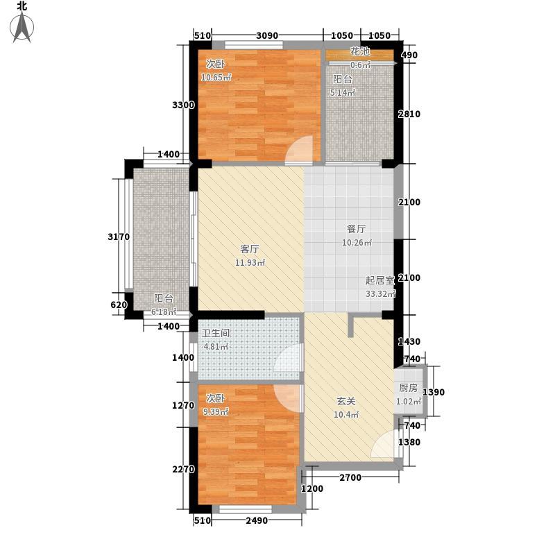 海湾雨林85.00㎡户型2室2厅