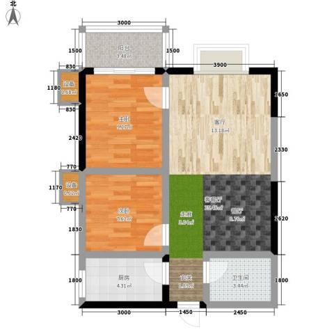飞天花园小区2室1厅1卫1厨75.00㎡户型图