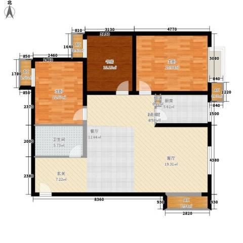 东方星家园3室0厅1卫1厨114.00㎡户型图