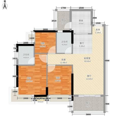 可逸豪苑3室0厅2卫1厨97.00㎡户型图