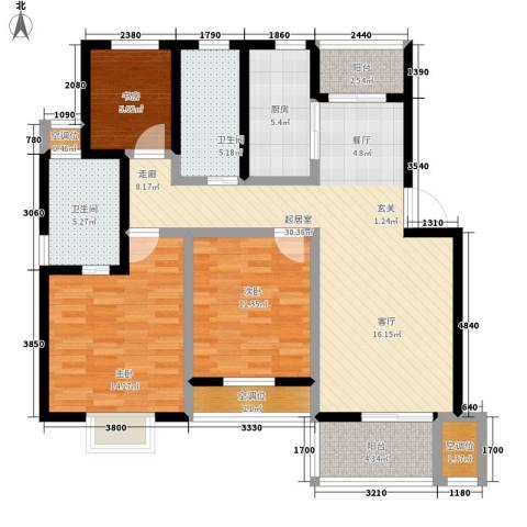 虎阜花园3室0厅2卫1厨131.00㎡户型图