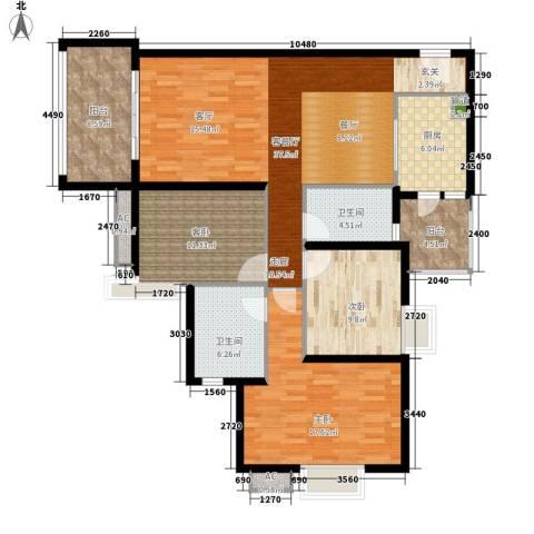 滨江水恋3室1厅2卫1厨122.00㎡户型图