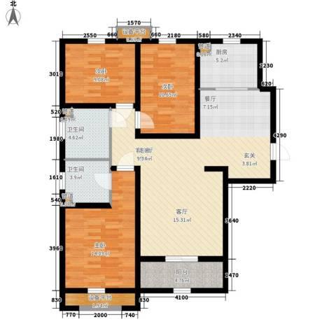 上东城3室1厅2卫1厨132.00㎡户型图