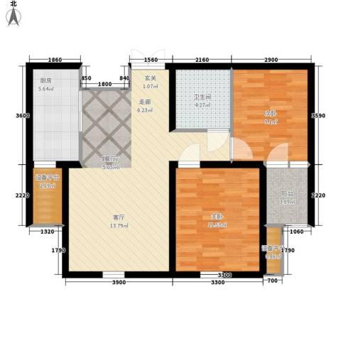 上东城2室1厅1卫1厨90.00㎡户型图