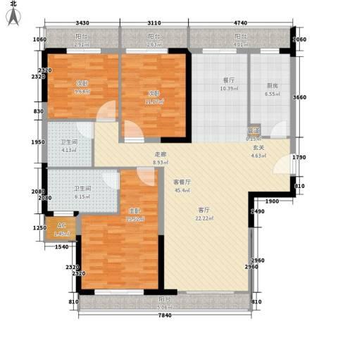 爱佳7983室1厅2卫1厨130.00㎡户型图
