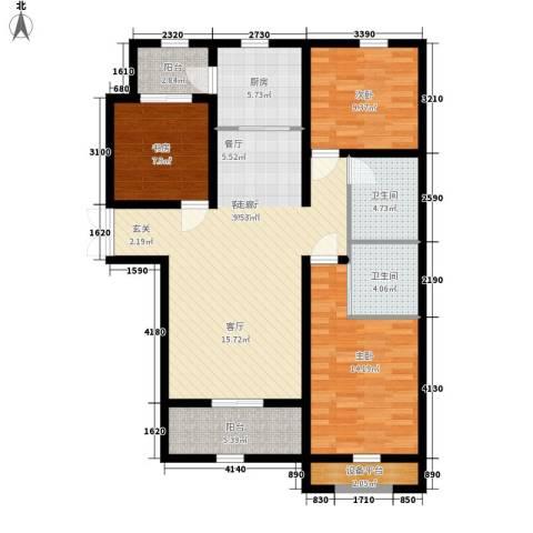 上东城3室1厅2卫1厨129.00㎡户型图