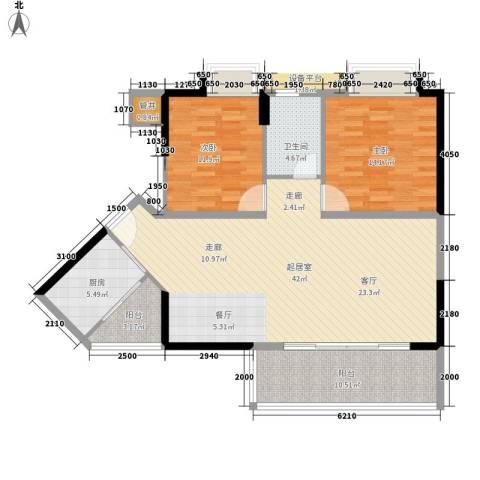 可逸豪苑2室0厅1卫1厨98.00㎡户型图