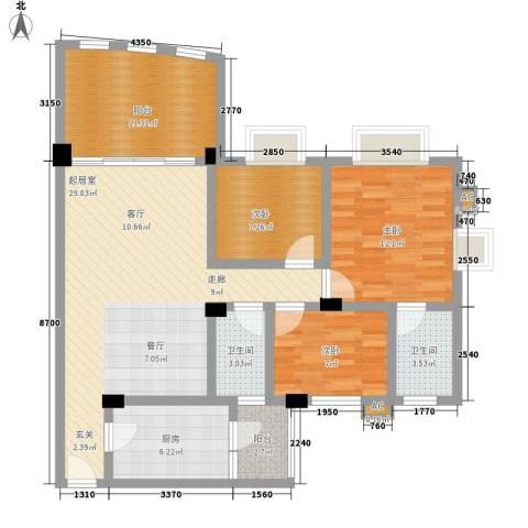 顺德碧桂园西苑3室0厅2卫1厨97.00㎡户型图