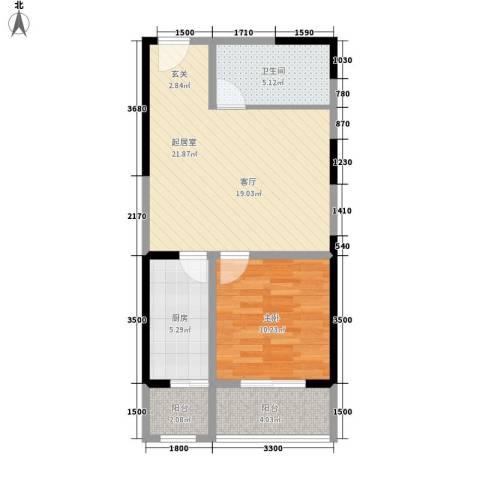 华龙佳园1室0厅1卫1厨69.00㎡户型图