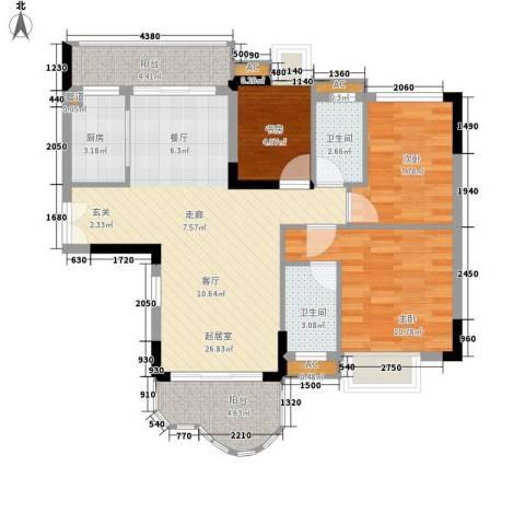 云山熹景3室0厅2卫1厨80.00㎡户型图