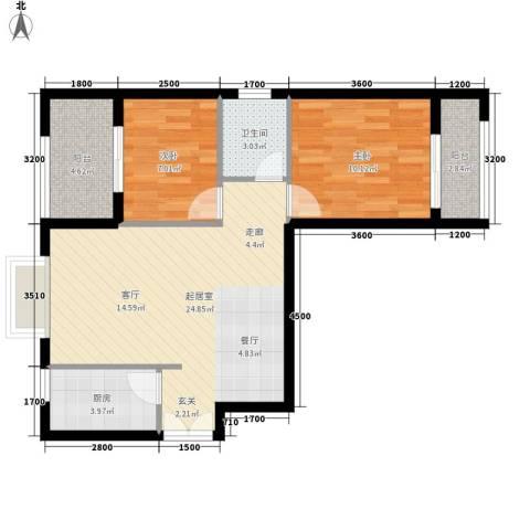 汉城壹号2室0厅1卫1厨83.00㎡户型图