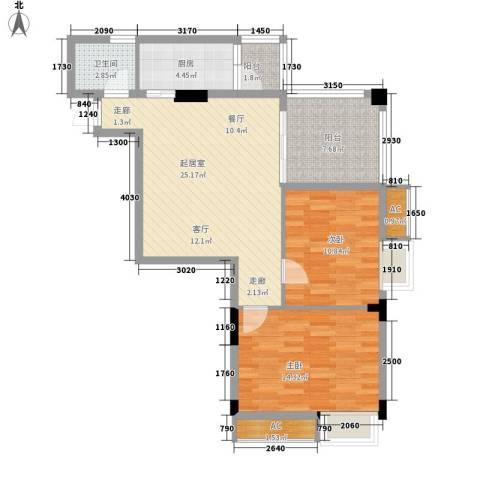 丽园雅庭2室0厅1卫1厨80.00㎡户型图