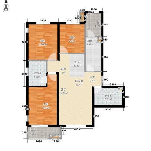 华中国宅华园3室0厅2卫1厨129.00㎡户型图