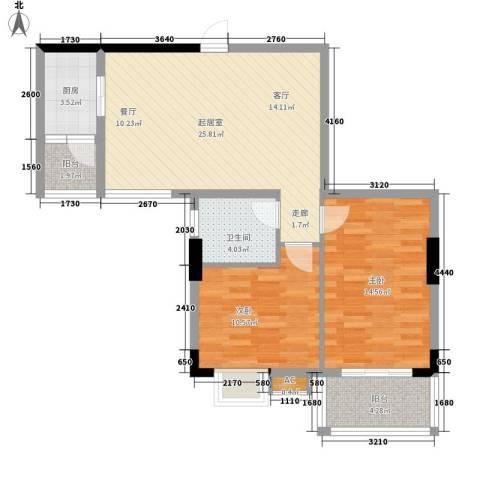 丽园雅庭2室0厅1卫1厨74.00㎡户型图