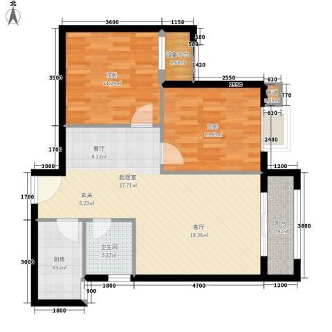 汉城壹号2室0厅1卫1厨87.00㎡户型图