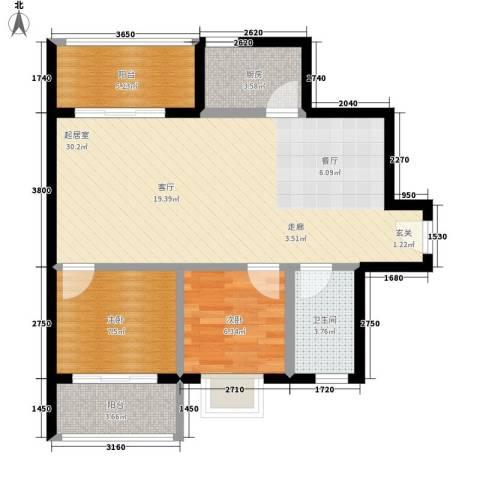 坚真花园2室0厅1卫1厨87.00㎡户型图