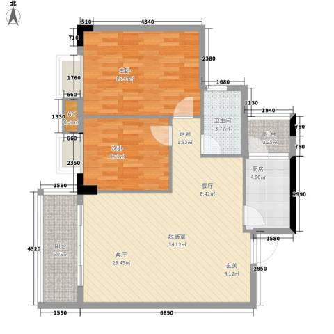 丽园雅庭2室0厅1卫1厨86.00㎡户型图