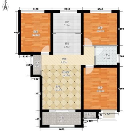 万达广场3室0厅1卫1厨112.00㎡户型图