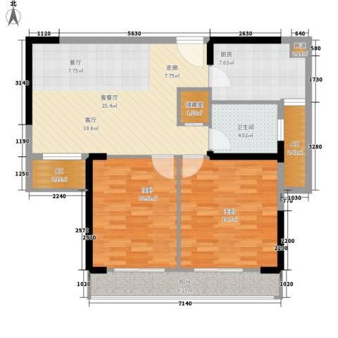 爱佳7982室1厅1卫1厨87.00㎡户型图