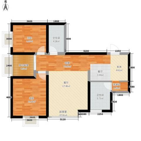 泰华紫落澜庭2室0厅2卫0厨85.51㎡户型图