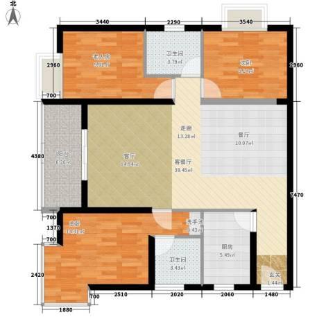 华城国际3室1厅2卫1厨128.00㎡户型图