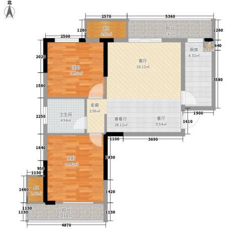 爱佳7982室1厅1卫1厨91.00㎡户型图