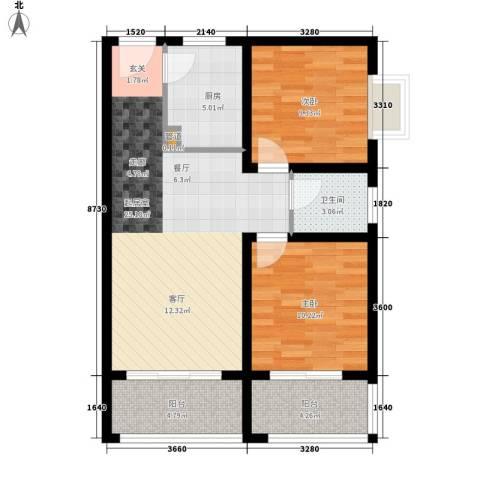 欣景苑2室0厅1卫1厨86.00㎡户型图