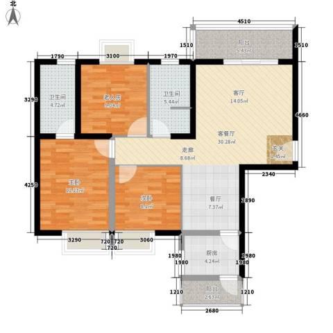 华城国际3室1厅2卫1厨118.00㎡户型图